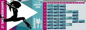Stundenplan SommerTanzWoche Ulm 2016